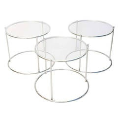 Set of Three Drum Shaped Nesting Tables
