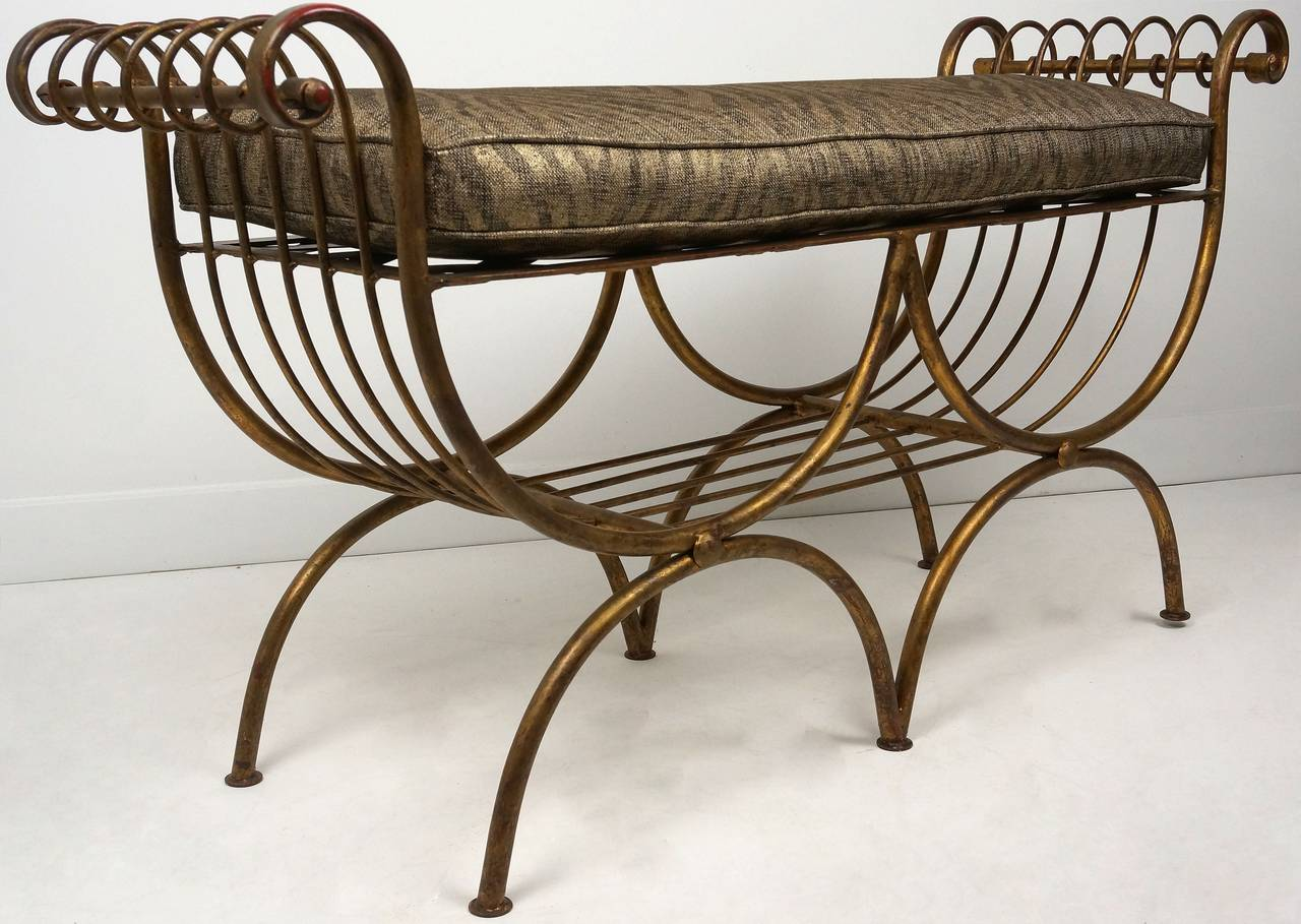 Hollywood Regency Style Gold Gilt Metal Bench With Cushion Italian 1960s For Sale At 1stdibs