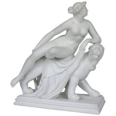 """Parian-Ware Figurine Titled """"Ariadne on a Panther,"""" Minton & Co., England"""