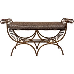 Hollywood Regency Style Gold Gilt Metal Bench with Cushion, Italian 1960s