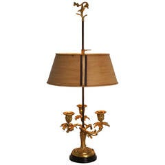 Louis XV Style Bronze Bouillotte Lamp with Tole Shade, France, 19th Century