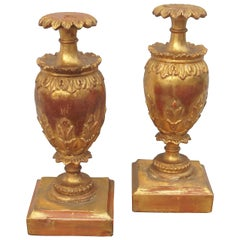 Pair of Giltwood Garniture Urns or Vases Mounted as Lamps