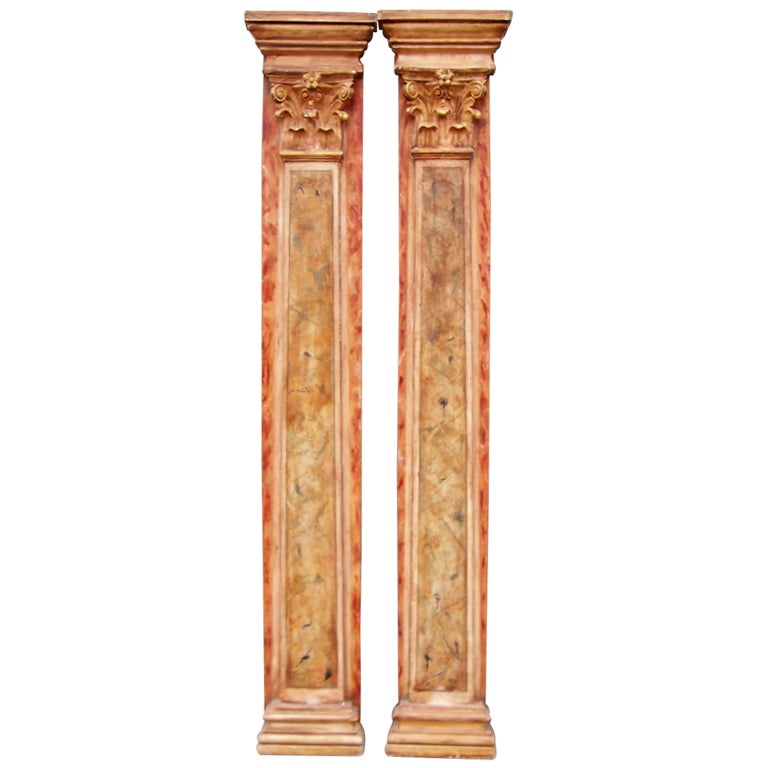 Marvelous Faux Painted Columns Part - 7: Pair Of Carved Faux Painted Pilaster Columns , Probably Italian 1