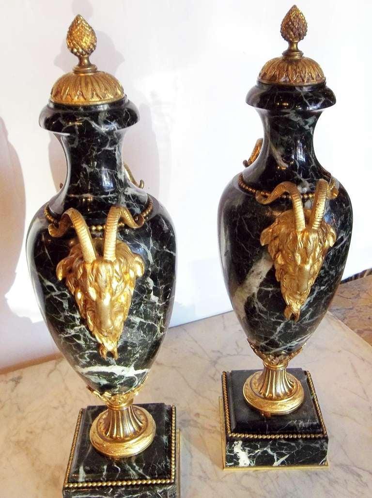 20th Century Pair of Verdi Antico 'Green' Marble Urns or Cassolette Garnitures For Sale