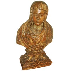 17th Century Carved Giltwood Bust of a Lady or a Madonna