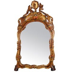 A mid 19th century Venetian floral decorated mirror