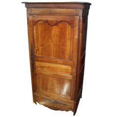 French Louis XV-XVI Walnut Bonnetiere Armoire