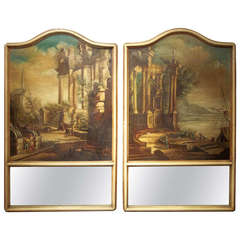 Pair French or Italian Trumeau Mirrors, Capriccio (Ruins) Inset