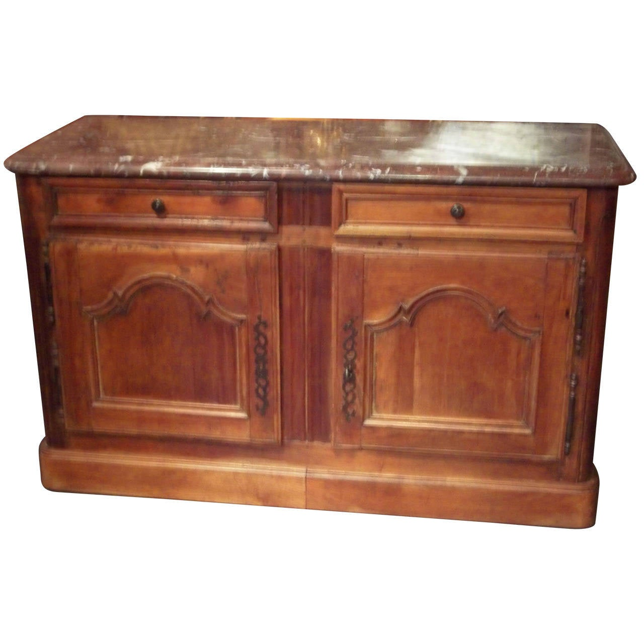 Louis XV Provincial Walnut and Fruitwood Marble Top Sideboard or Buffet