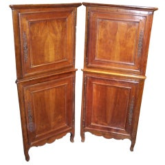 Pair of French Louis XV-Louis XVI Provincial Walnut Corner Cabinets