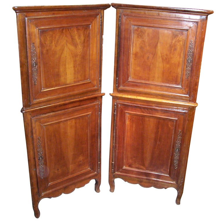 Pair of French Louis XV-Louis XVI Provincial Walnut Corner Cupboards or Cabinets