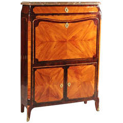 Signed, Stamped JME Louis XV Tulipwood and Amaranth Secretaire a Abattant