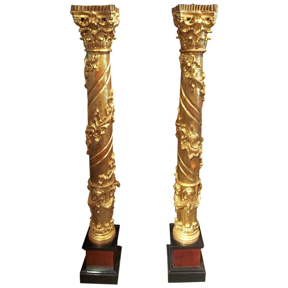Pair of Tall Gilt Wood Candlesticks or Torchieres