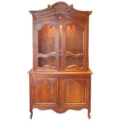 Lighted French Pine Buffet A'Deux Corps Cupboard
