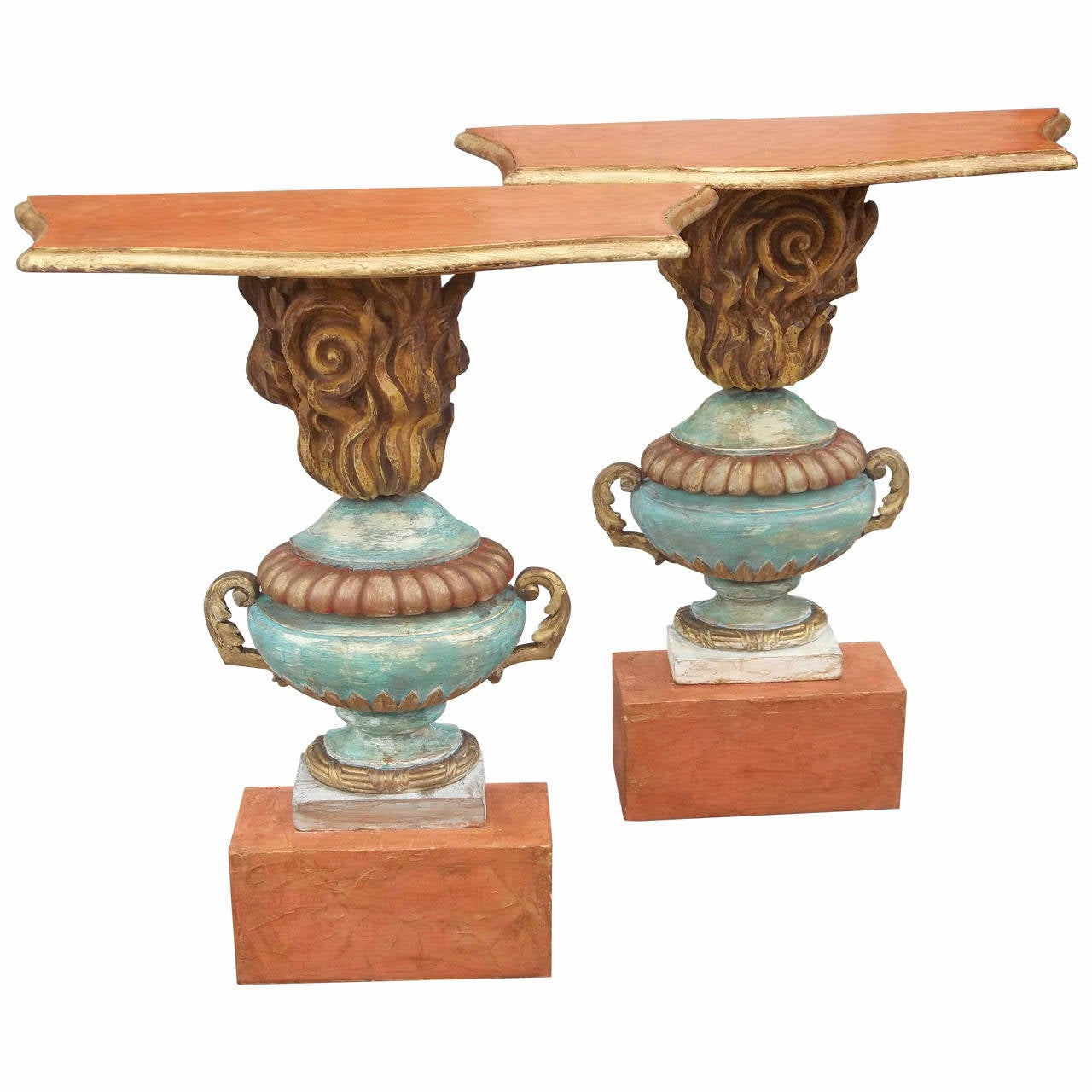 Pair of Italian Robin Egg Blue Painted Wooden Consoles