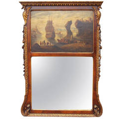 Georgian English Walnut Giltwood Trumeau Mirror with Seascape Oil