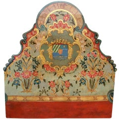 Italian or Venetian painted armorial boiserie panel or headboard