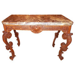 Regence Transition to Louis XV Rococo Beechwood Console Table