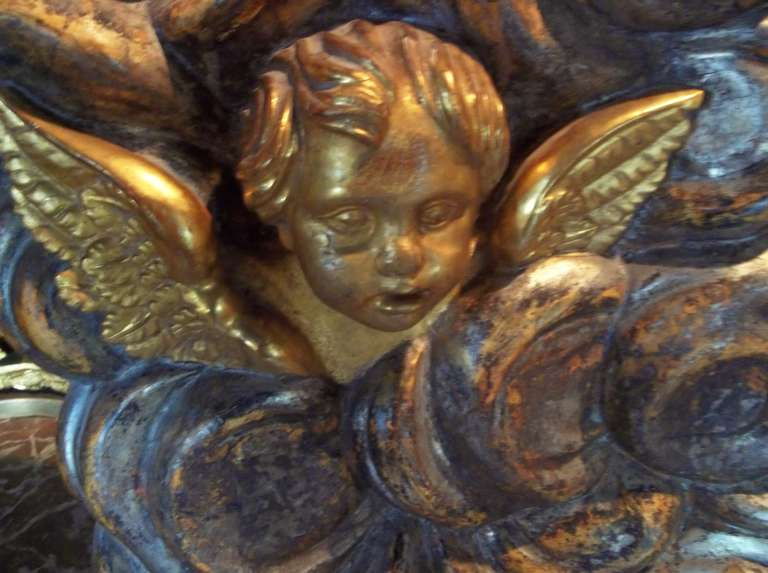 Italian Large Architectural Gilt Wood Fragment Panel with Putti or Cherubs For Sale
