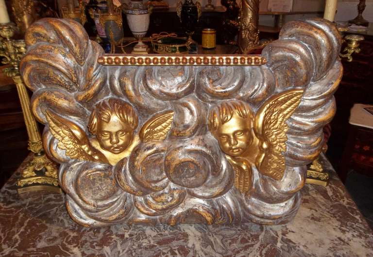 Baroque Large Architectural Gilt Wood Fragment Panel with Putti or Cherubs For Sale