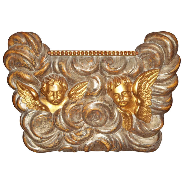 Large Architectural Giltwood Fragment Panel with Putti or Cherubs in Clouds