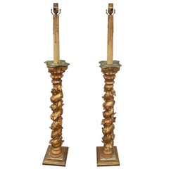 Pair of Giltwood Solomonic Columns Now Mounted as Lamps