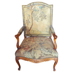 Tapestry Covered Regence Style Beechwood Armchair or Fauteuil