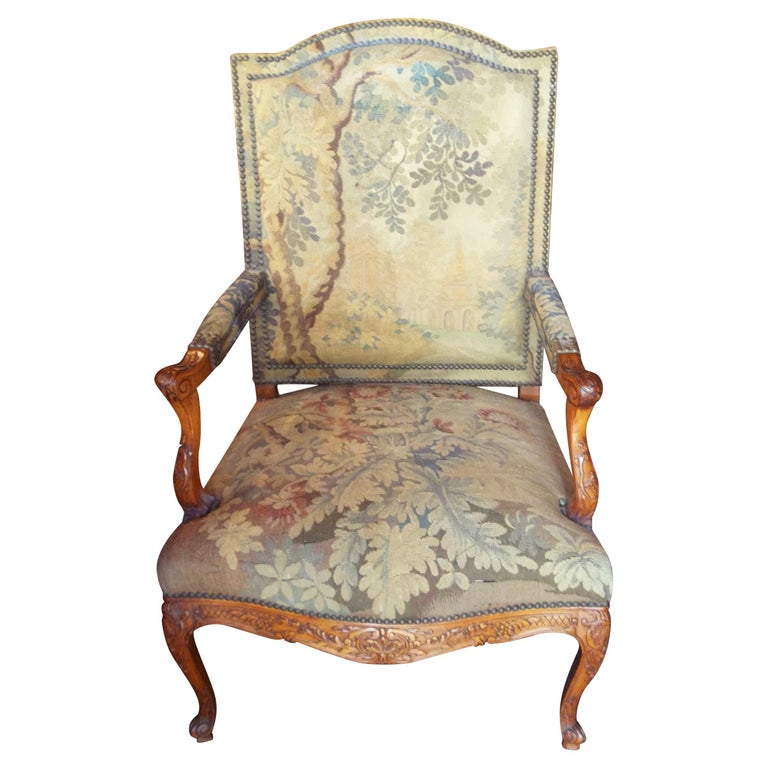 Tapestry Covered Regence Style Beechwood Armchair or Fauteuil For Sale