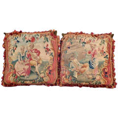 Pair of 18th Century Aubusson Coverings Now Faced on Pillows