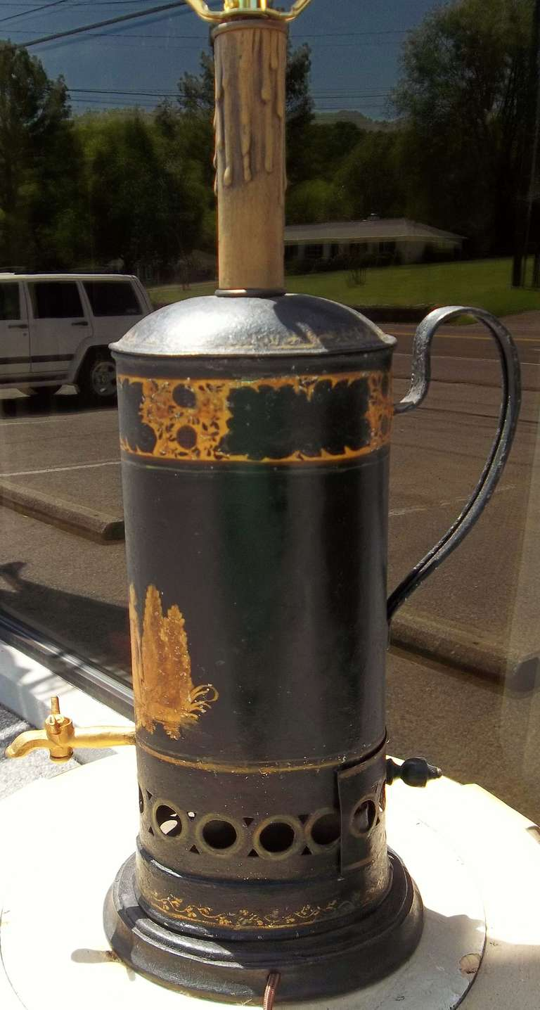 Italian Gilt Decorated Tole Hot Water Urn With Charcoal