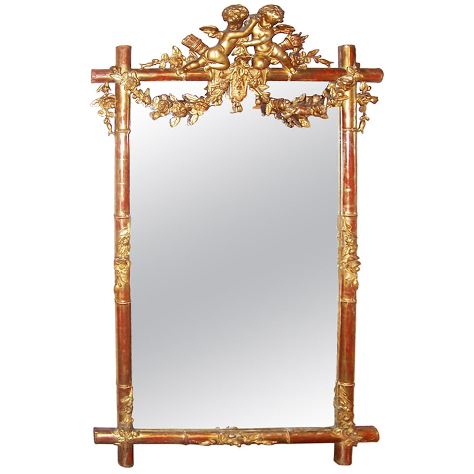 Giltwood Faux Bamboo Mirror with Cherubs or Putti Crest with Floral Garlands