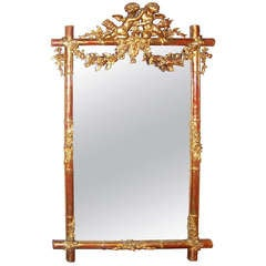 Giltwood Faux Bamboo Mirror with Cherubs or Putti