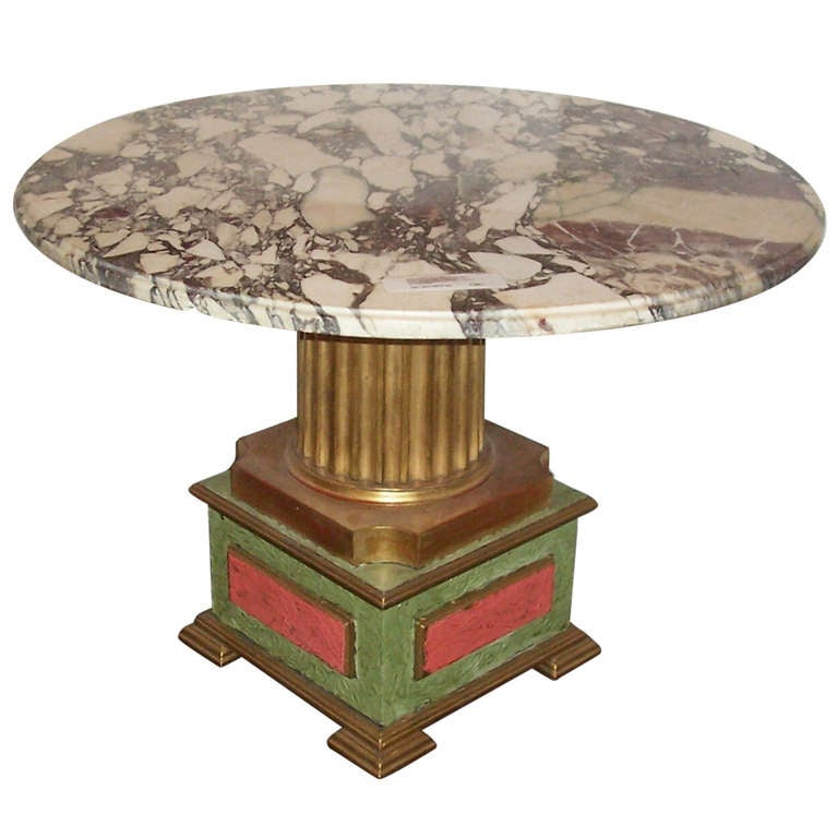 Italian , Probably Venetian Parcel Gilt Marble Top Table For Sale