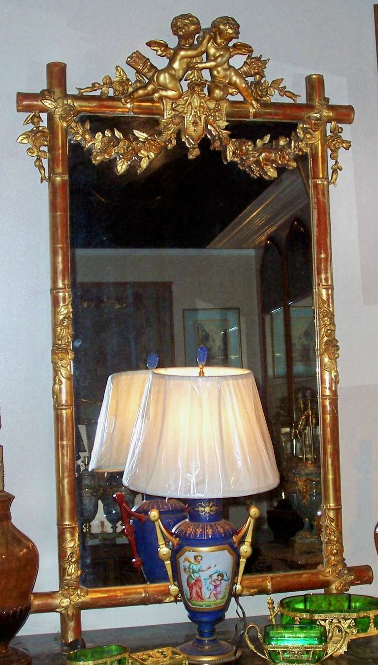 Giltwood Faux Bamboo Mirror with Cherubs or Putti Crest with Floral Garlands For Sale 14