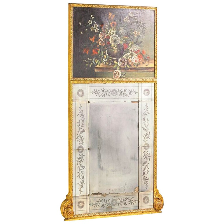 Italian Trumeau Mirror with Venetian Etched Floral Plates and Floral Oil For Sale