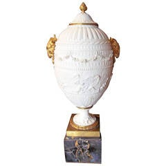 Sevres Style Biscuit Urn on Black and Gold Marble Base