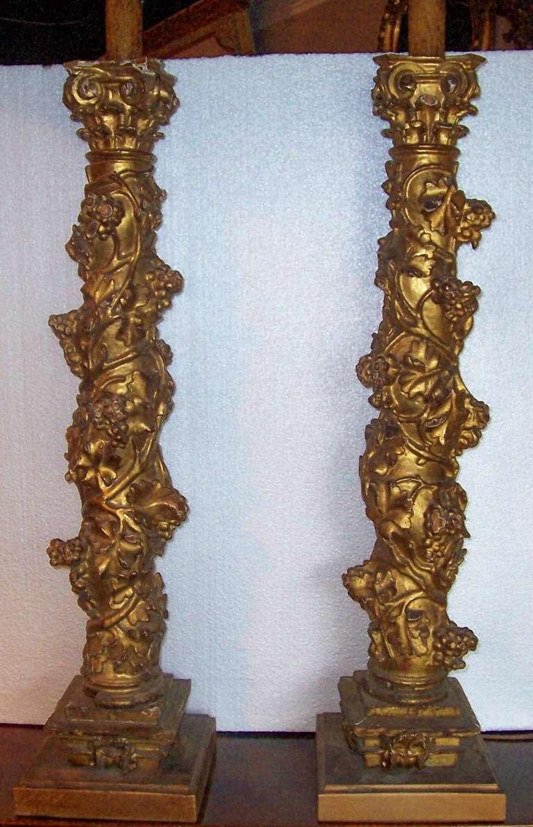 Pair Of 17th Century Baroque Giltwood Solomonic Columns