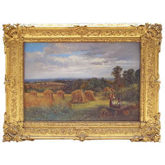 English Landscape of Cornfields Signed and Dated 1867 A. J. Bennett