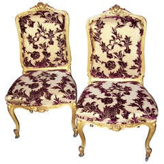 Pair of Louis XV Style Giltwood Side Chairs