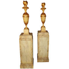 Pair of Neoclassical Styled Urns on Pedestals