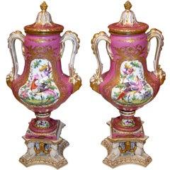 Pair of Pompadour Pink Hard Paste English Urns