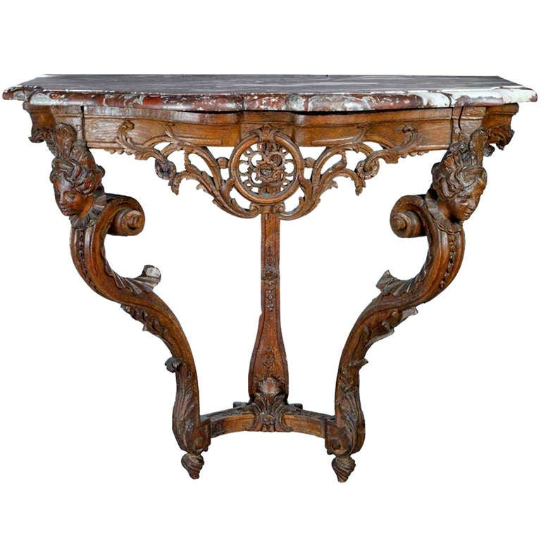 Early Louis Xv Rococo Hand Carved Console Table At 1stdibs