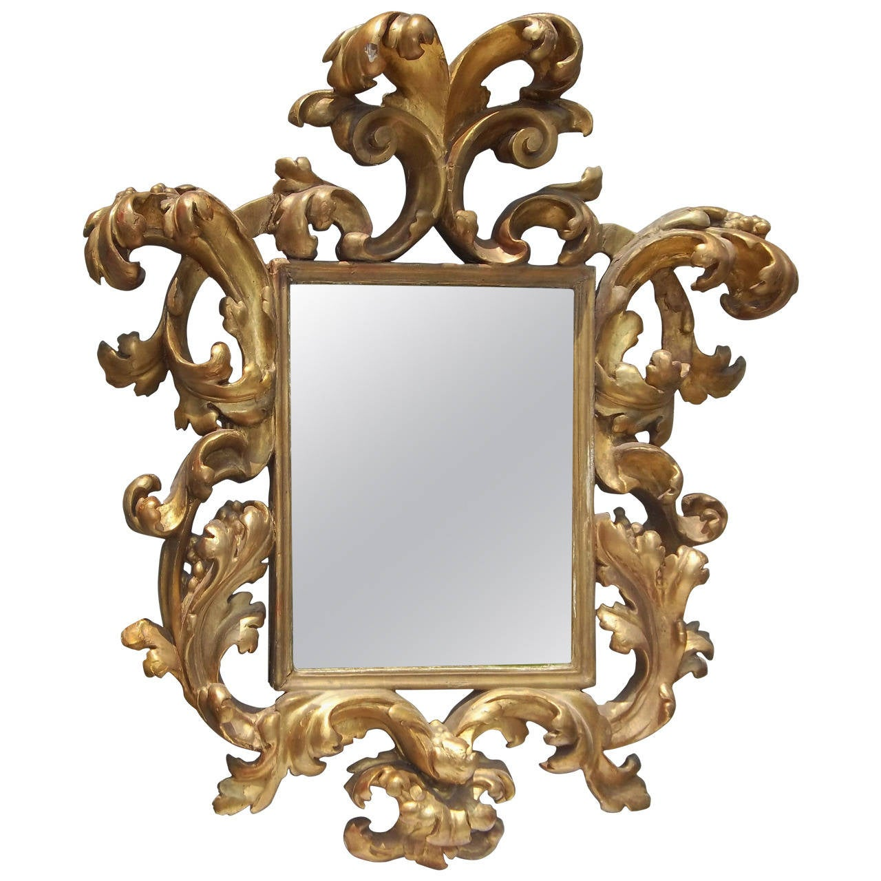 Carved giltwood italian baroque or rococo style mirror for for Baroque mirror