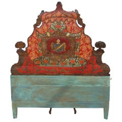 Italian (probably Venetian) Carved and Painted Queen Headboard