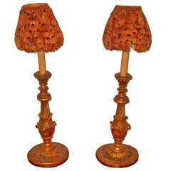 pair giltwood candlesticks now mounted as lamps
