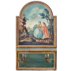 Louis XVI Style Trumeau Panel With Trompe L'oeil Mirror Panel