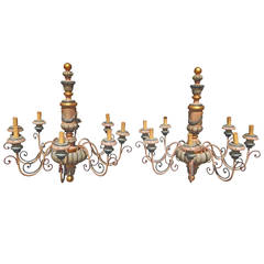 Pair of French or Italian Wood Painted Chandeliers
