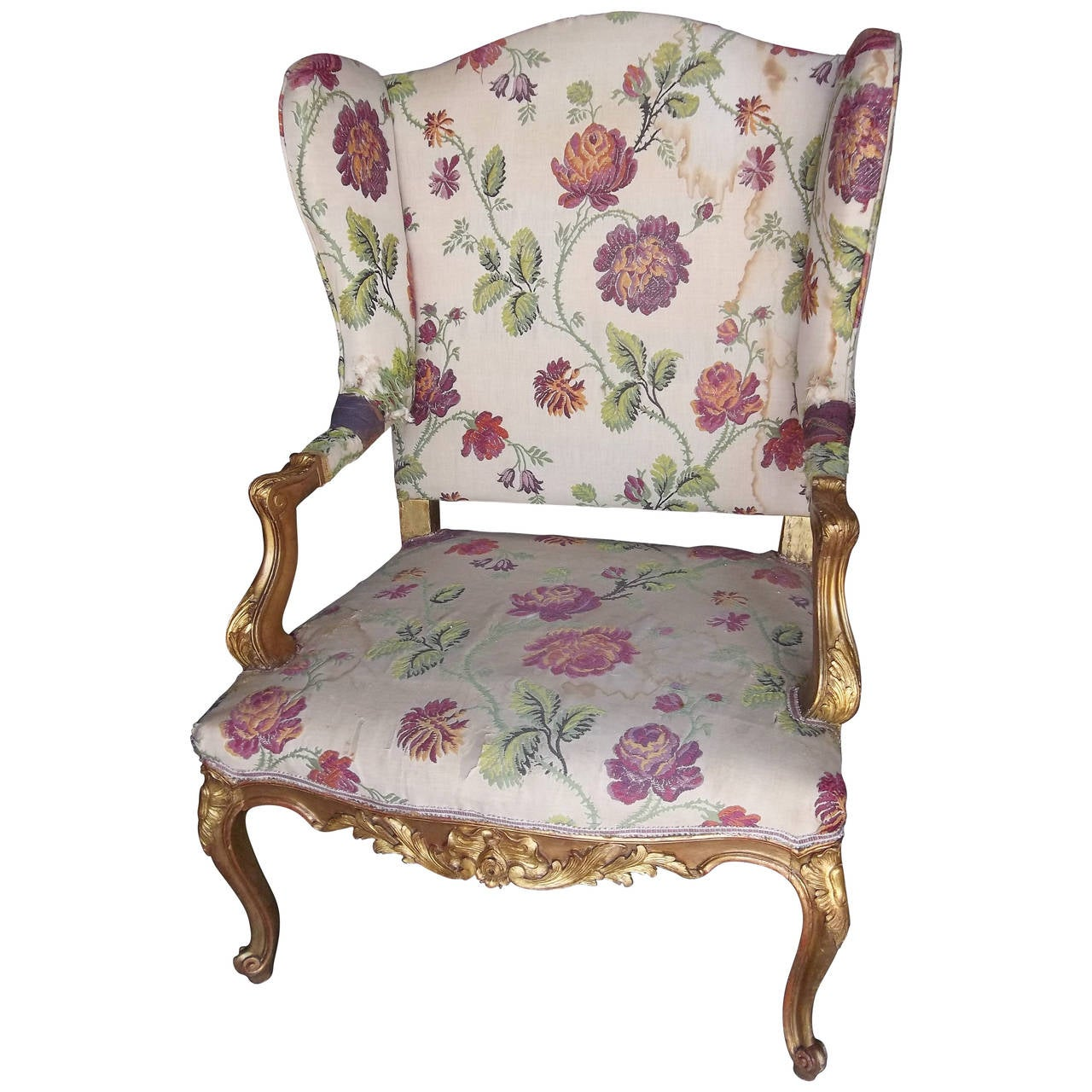 Louis XV Style Giltwood Butterfly Wing Chair