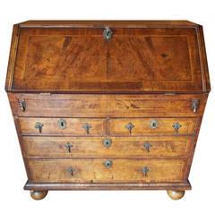 George I Highly Figured, Walnut Slant Top Desk