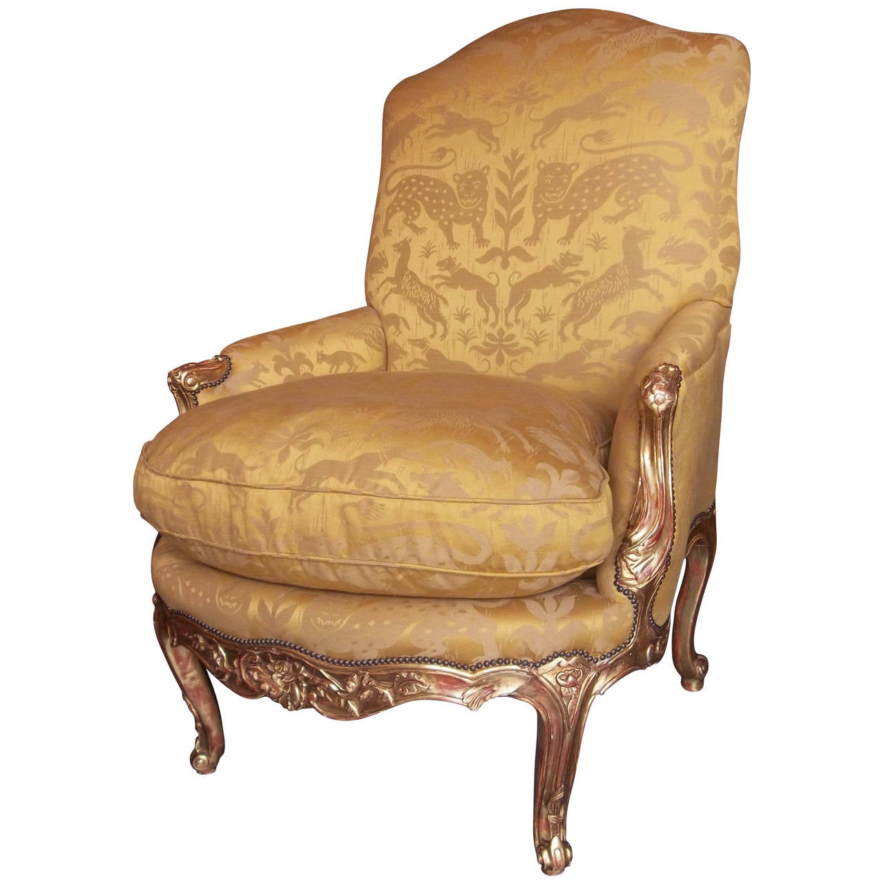 Louis XV Styled Giltwood Bergere or Armchair